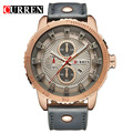 Rose gold Men business Newest Watches  Luxury brand Curren Quartz Clock skeleton Fashion casual watch,with the gift box 8206