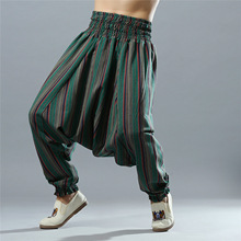 Men Yoga Pants Loose Wide Leg Cotton Linen India Nepal Male Harem Yoga Trousers Casual Sports Crotch Pants Bloomers for Men men yoga pants wide leg harem loose linen india nepal pants sweatpants running jogging leisure casual fitness travel pants