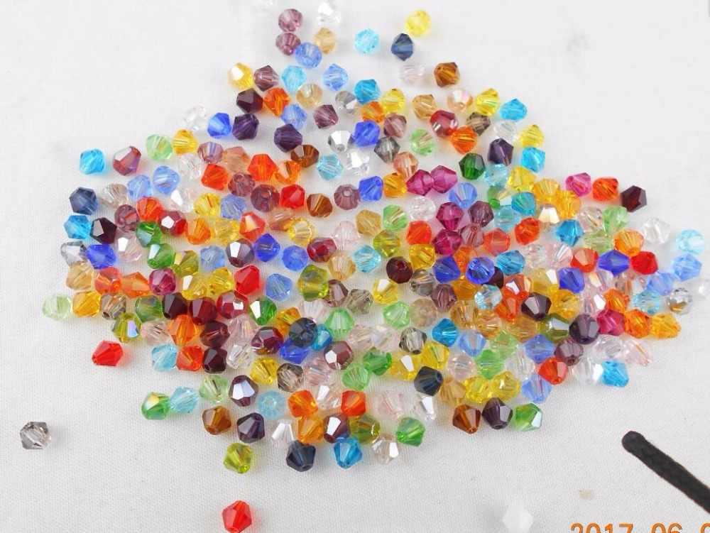 Mischfarbe 4mm Glas Kristalle Lose Faceted Doppelkegel Perlen für DIY Armband Halskette Schmuck Machen Kostenloser Versand