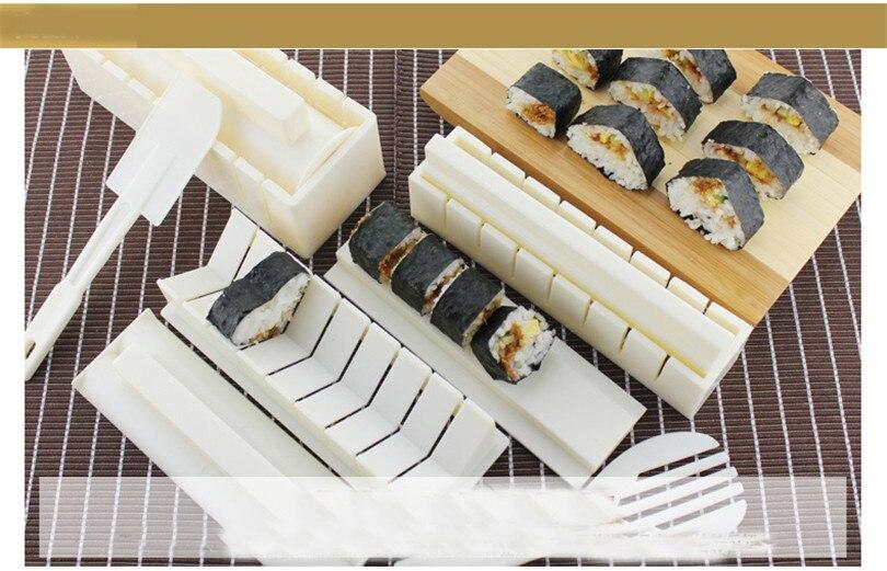 XMT-HOME 1 ensemble kit de moule de fabricant de sushi et couteau d'algues nori ensemble de rouleau de sushi tapis roulant rouleau de riz faisant des outils de cuisine de moule - 6