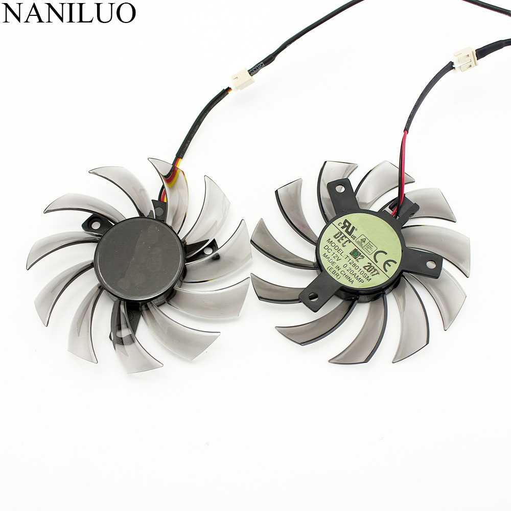 NANILUO T128010SM For GIGABYTE GTX 460 465 560 Ti 580 650 750Ti Graphics Card Fan 75MM 12V 0.20A GT440 GT610 GT730 HD 6850 Fan