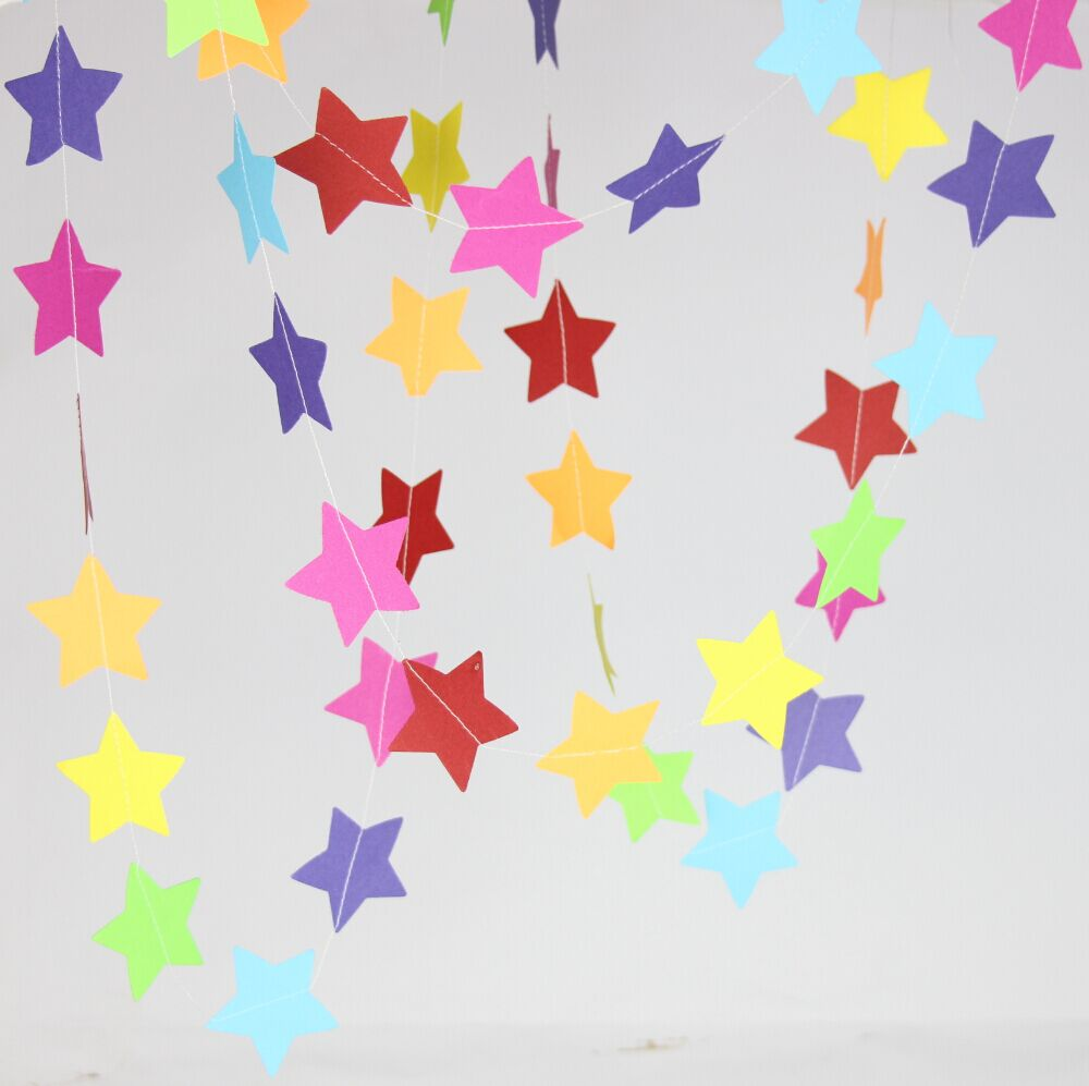 5 feet rainbow garland in 2 inch star birthday party for Star decorations for home