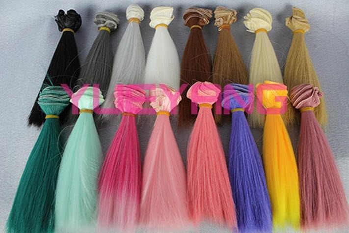 Кукла парик для шарнирной куклы волосы 15 см * 100 см Золотой коричневый зеленый розовый красный черный цвет парик с прямыми волосами для куклы Барби 1/3 1/4 BJD куклы diy