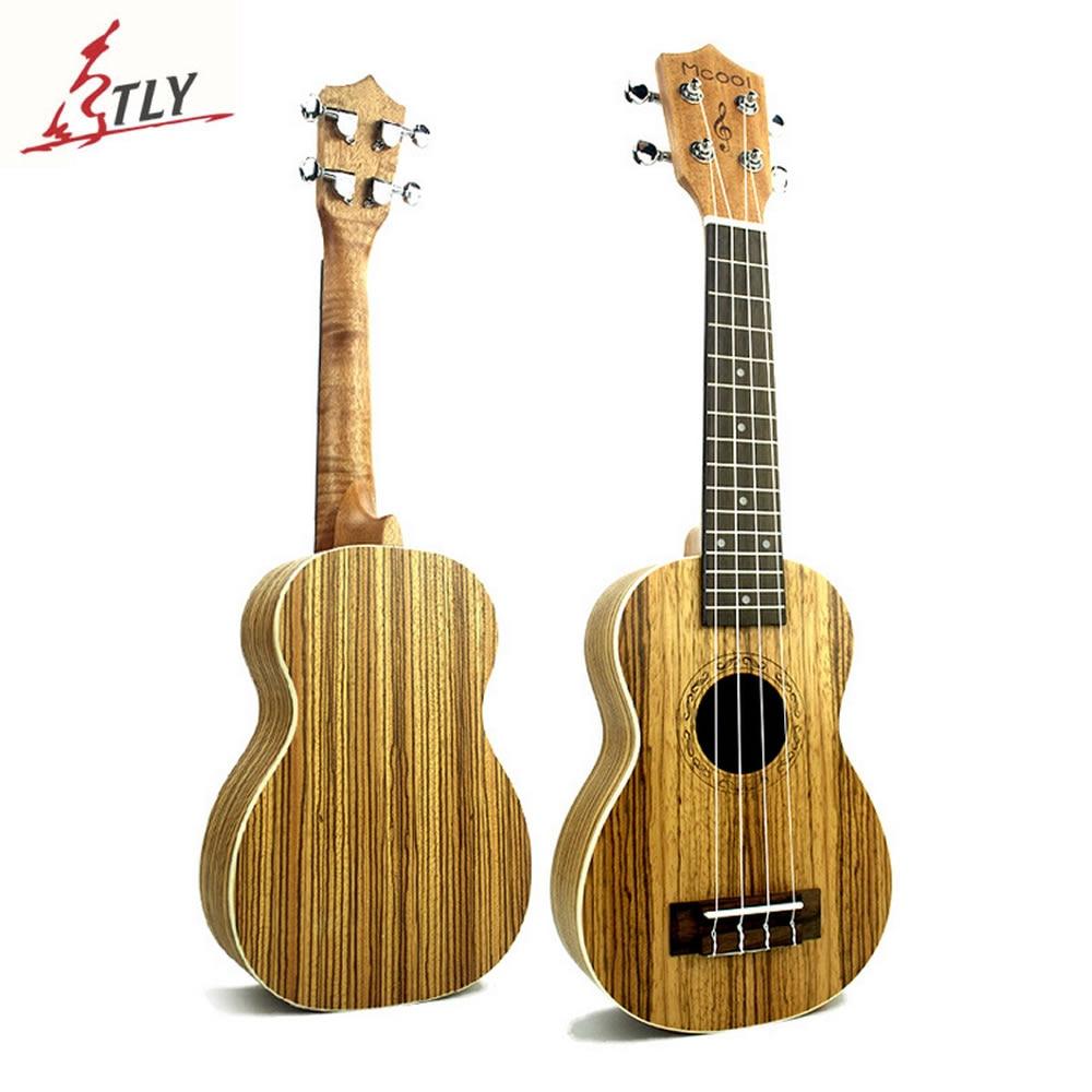 Mcool New 21 Brazil Zebrawood Soprano Mini Guitar Ukulele Rosewood Fingerboared Hawaii 4 Strings Instruments Ukelele Uke