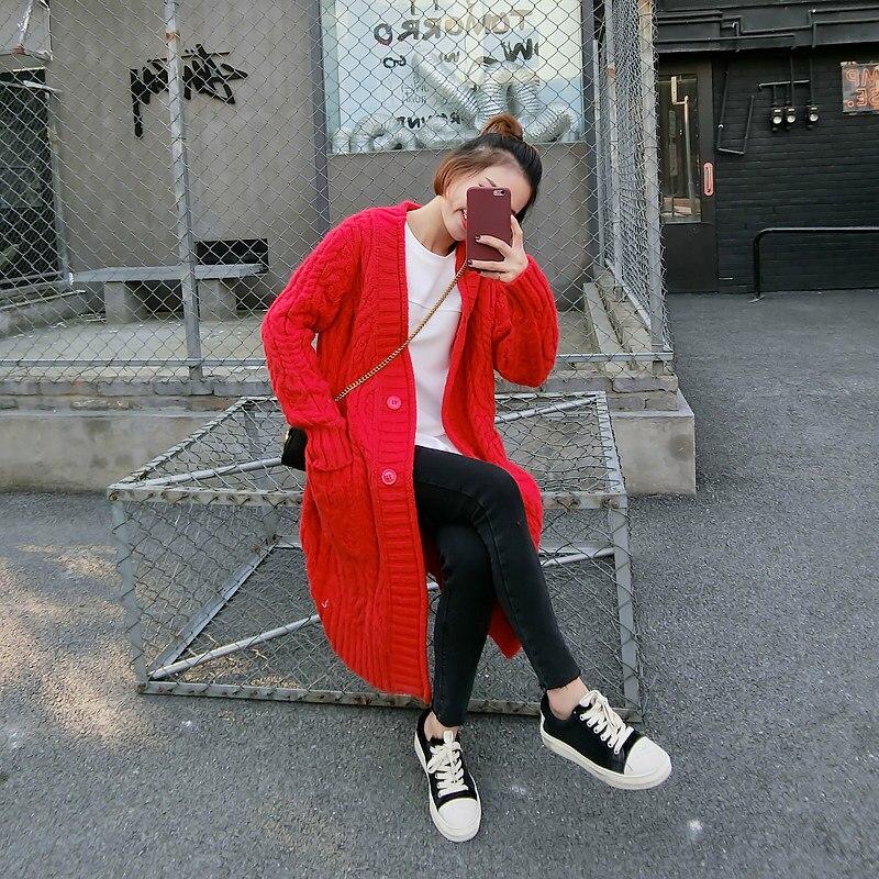 Et Kaki V Hiver Torsadé 2018 Lâche Long Survêtement Nouvelles Manteau Cardigan Chandails Casual Automne cou rouge Femmes Pull Solide Poches fgqU5wq