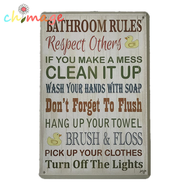 Bathroom Rules Clean It Up Vintage Tin Sign Bar Pub Home Wall Decor Metal Poster