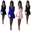 2017 nueva primavera verano v profundo arco pompon dress mini club sexy ropa ropa de las mujeres de color sólido de manga larga cubierta