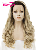 Imstyle Long Wave Dark root blonde ombre color heat resistant Synthetic fake hair 24 inches Lace Front Wigs for Woman