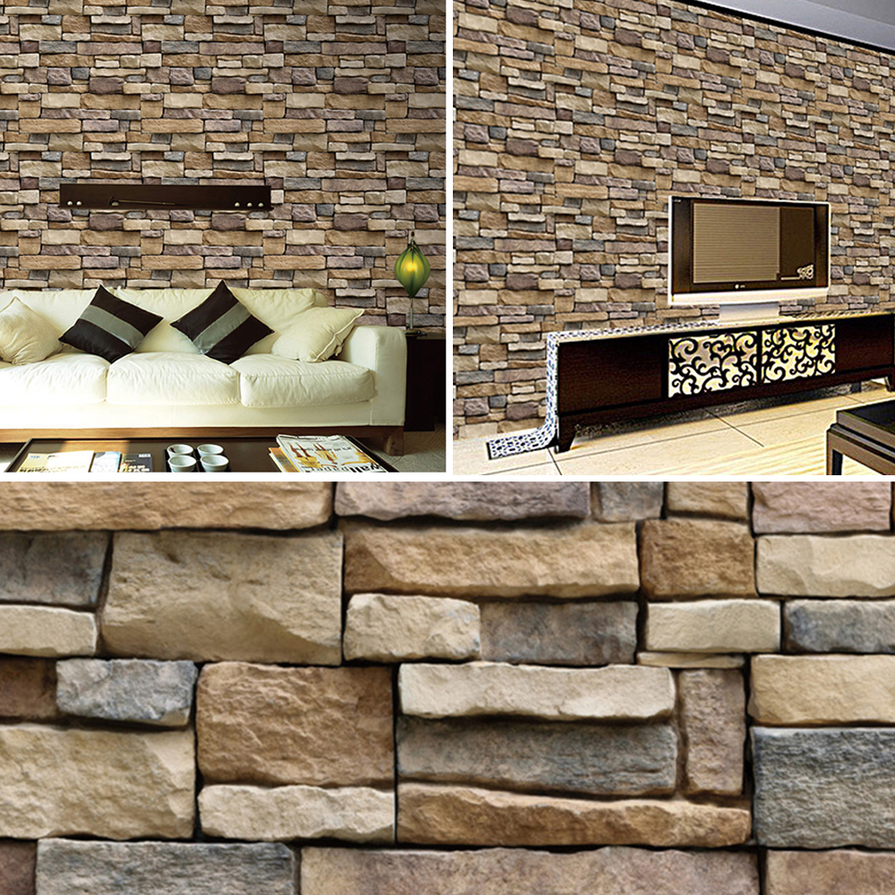 3D Wall Stickers Paper Brick Stone Rustic Effect Self-adhesive Home Decor 45 * 100cm Vinilos Decorativos Para Paredes