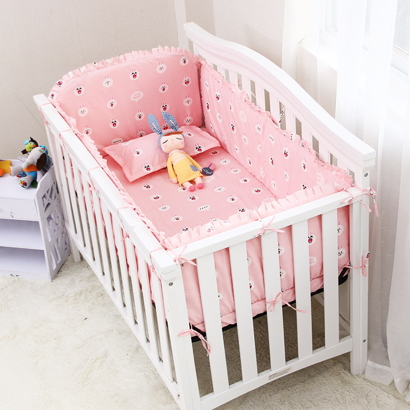 цена на 6Pcs 100%Cotton Baby Crib Bedding Set Bed Safety Fence Sheets Thickening Babies Bumper Cotton Baby Crib Sheet Bumper Crib Pillow