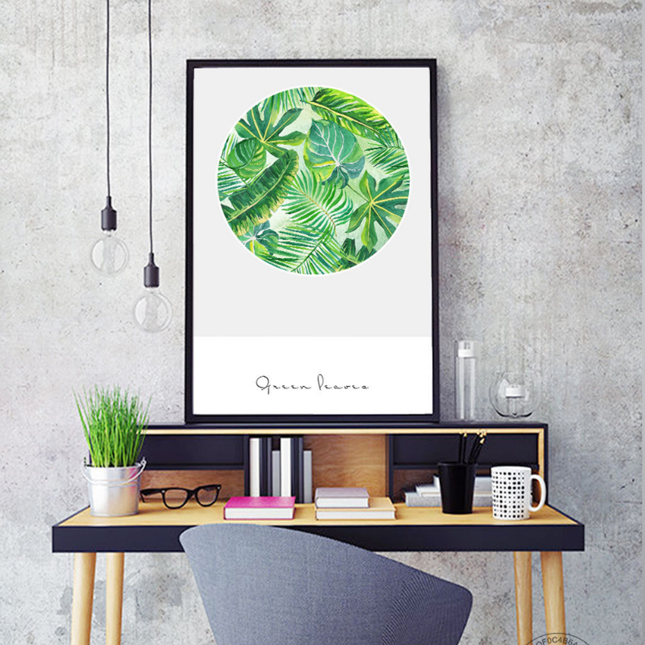 Watercolor Green Tropical Leaf Canvas Paintings Nordic Wall Art ...