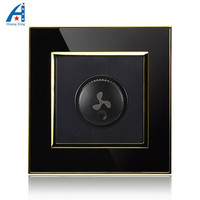 300W 1000W New Ceiling Fan Speed Control Switch Luxury Wall Switch Black Gold Crystal Acrylic Panel