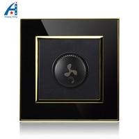 300W 1000W New Ceiling Fan Speed Control Switch Luxury Wall Switch Black Gold Crystal Acrylic Panel