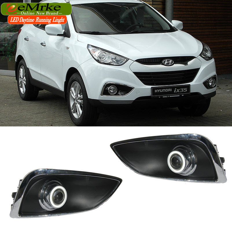 eeMrke Car Styling LED DRL Angel Eyes For Hyundai Tucson IX35 Fog Lights Daytime Running Lights H3 55W Halogen Bulbs Day Lights eemrke led angel eyes drl for suzuki aerio liana 2005 2006 2007 fog lights daytime running lights h3 55w halogen cut line lens