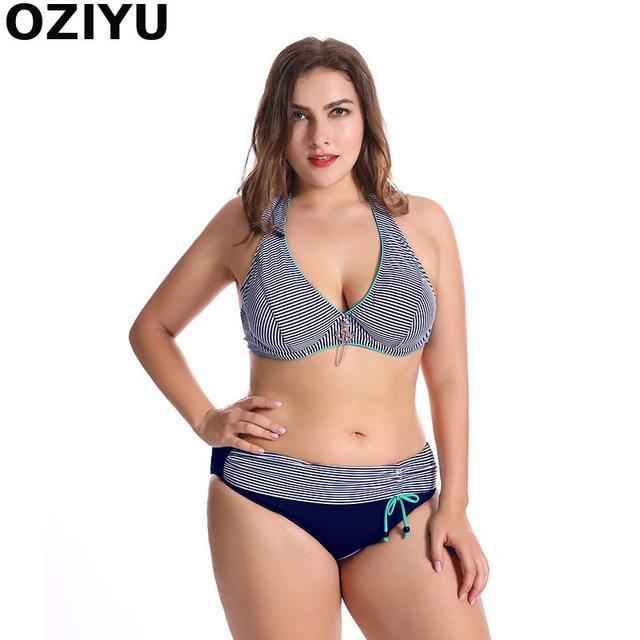 a095f3b463d4d Klassische E/F/G tasse Streifen push up bikini set, big plus größe ...