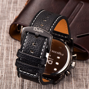 Image 4 - Oulm Watches Mens Quartz Casual Leather Strap Wristwatch Sports Multi Time Zone Military Male Clock erkek saat Dropshipping