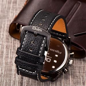 Image 4 - Oulm 腕時計メンズクォーツカジュアルレザーストラップ腕時計スポーツマルチタイムゾーンミリタリー男性時計 erkek saat ドロップシッピング