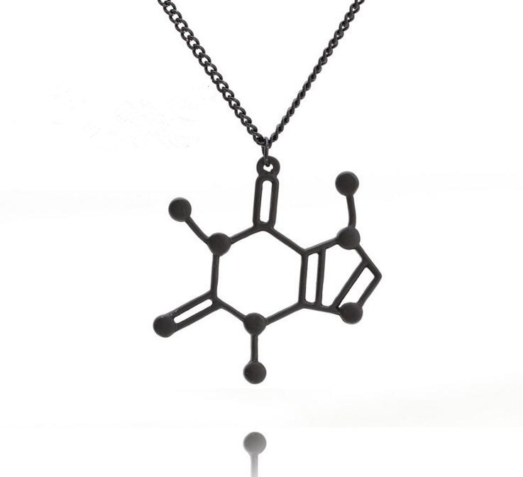 New Arrival 3 color Dopamine Chemical Structure Caffeine Molecule Pendant Necklace Men Women Science Biochemistry Jewelry Gift