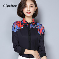 Qlychee Spring Autumn Vintage Women S Phoenix Bird Print Blouse Shirt Loose Shirts Ladies Chemise