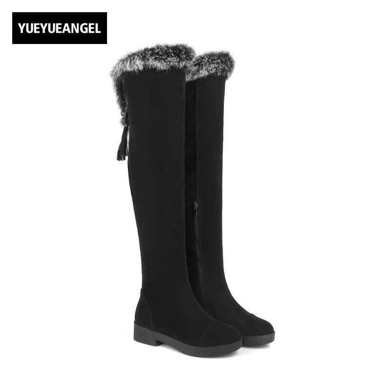 Winter Lovely Fur Trim Womens Thigh High Boots Block Chunky Heel Comfort Snow Boots Zipper Tassels Fashion Street Wear Shoes suede chunky heel womens thigh high boots