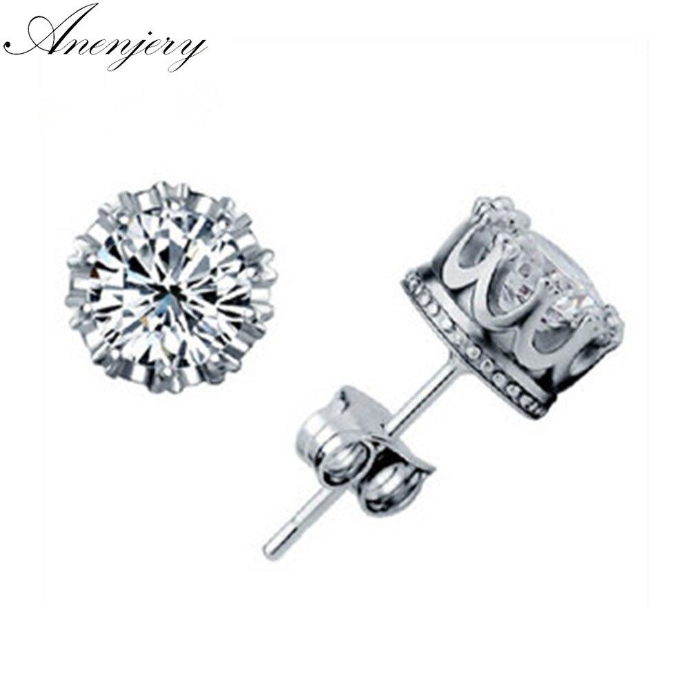 Anenjery 925 Sterling Sliver Crown 8MM Cubic Zircon Stud Earrings For Women Men Gift Oorbellen Boucle D'oreille S-E17
