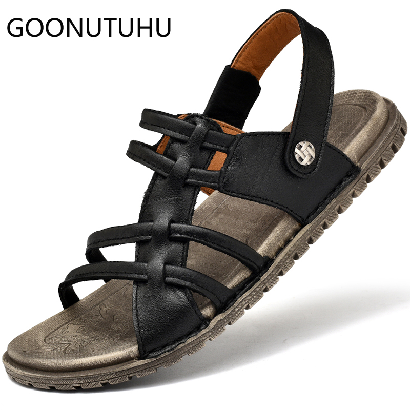Fashion mens sandasl casual leather shoes male summer breathable beach sandal man flat slipper outdoor sandals for men hot sale