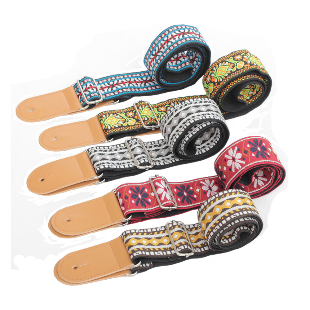 Vintage Flowers Stripes Acoustic Electric Guitar Strap Woven Embroidery Fabrics Leather Ends Strap Guitarra Part Accessories