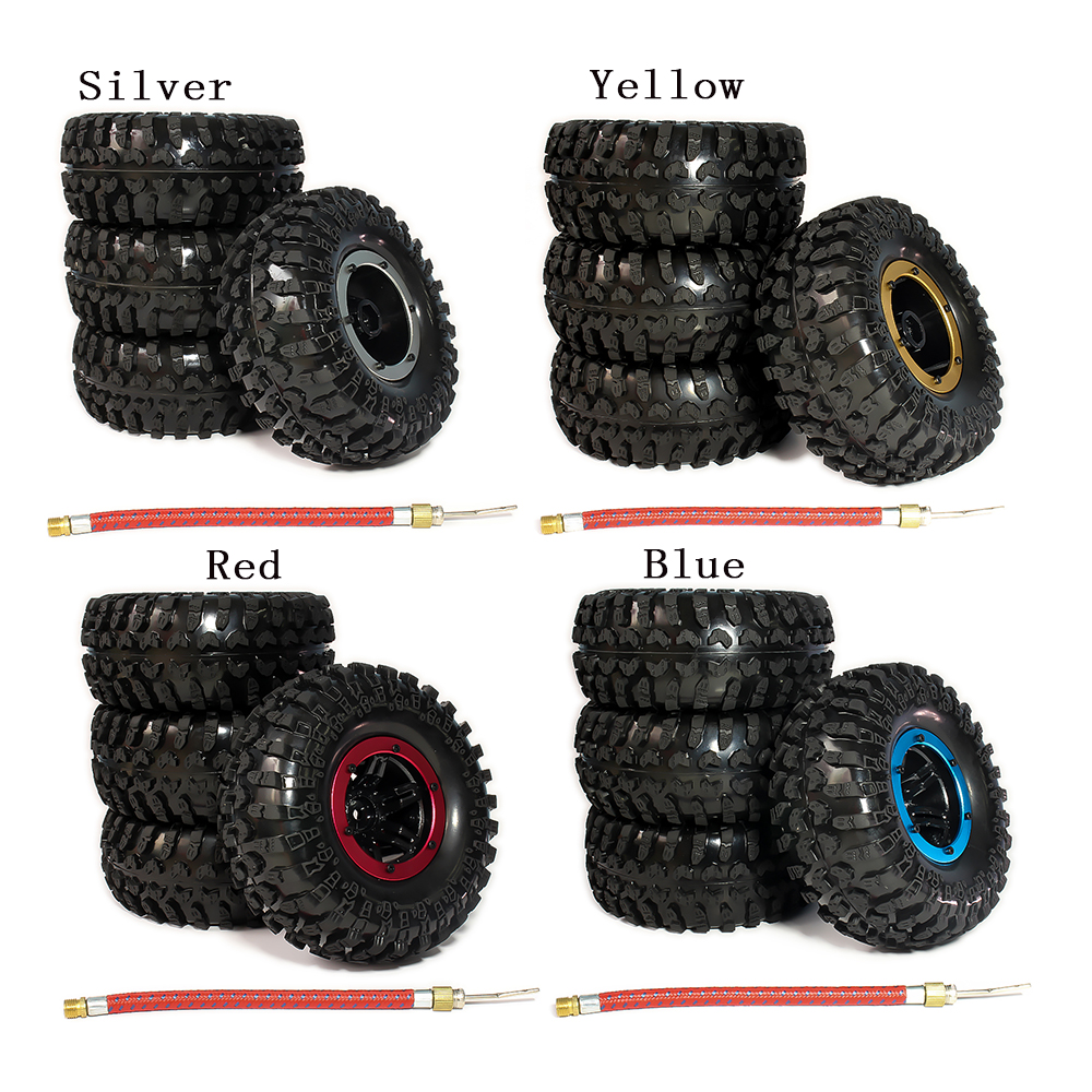 RCAWD 4pcs Inflatable 2.2 Inch Beadlock Tire Wheel Air Pneumatic For 1/10 RC Crawler Truck Wraith Scx10 AX10 Inflate Austar 2pcs 2 2 metal wheel hubs for 1 10 scale rc crawler car nv widen version outer beadlock wheels diameter 64 5mm width 43 5mm