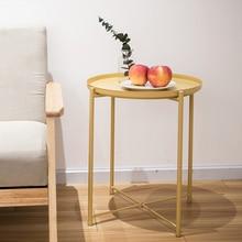 Простой металлический журнальный столик в скандинавском стиле, низкий столик для дивана, маленький круглый столик