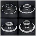 Mecresh clásico Color plata cristal joyería nupcial conjuntos de cuentas africanas diamantes de imitación boda collar pendientes pulsera conjuntos 3TL002