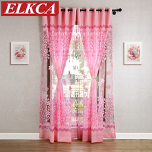 Princess Pink Burnout Curtains for Living Room Girl Bedroom Curtains for Kids Room Faux Silk Window