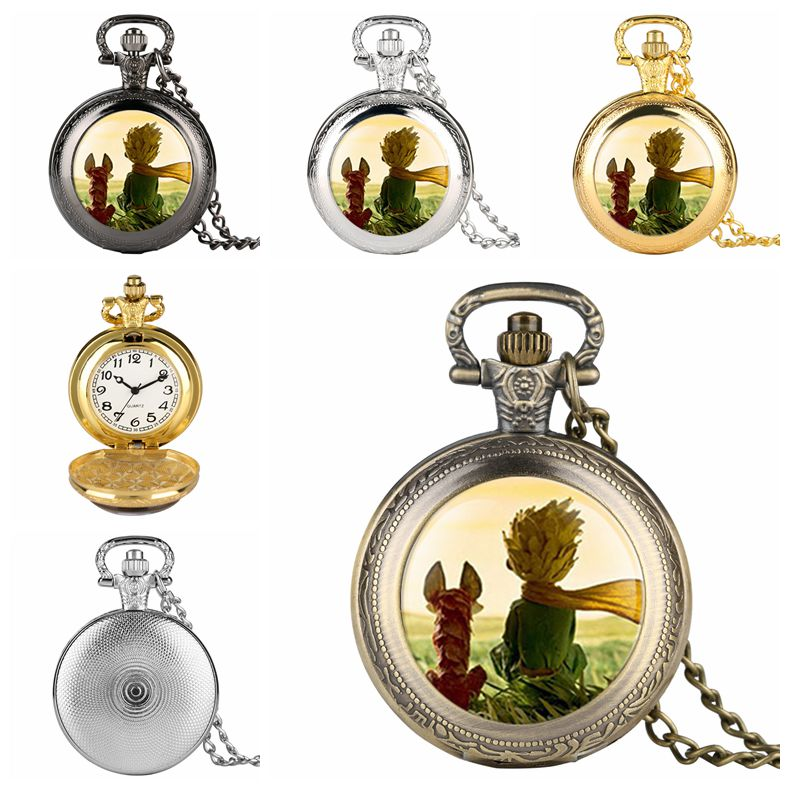 Unique Mens Cartoon Animation Prince And Fox Pocket Watch Quartz Analog Watch For Boy Arabic Number Watches For Teenager