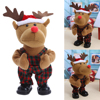 Cute Kids Lovely Christmas Electric Toy Battery Packs Christmas Deer Cloth Dolls Funny Christmas Decorations Gifts
