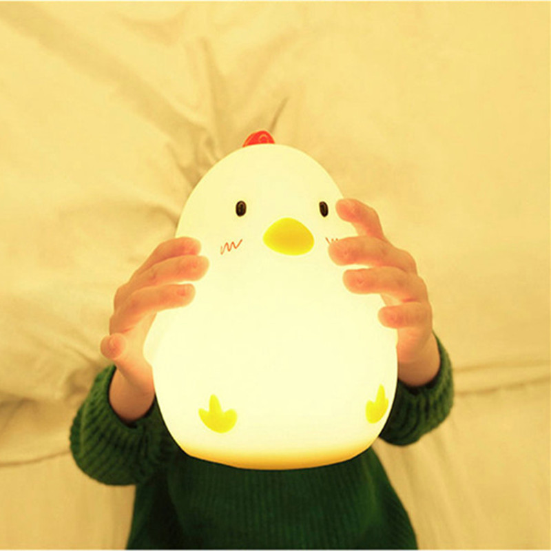 Ins Hot Creative Silicone Alarm Clock Wake Up Chicken Night Light Silicone Bedside Lamp Kids Room Night Light Free Shipping недорого