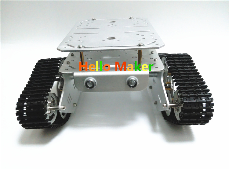 T300-M Silver Alloy DIY Tank Chassis with Double Chassis Plate Robbot Chassis hello maker 158 alloy diy tank driving wheel with coupling for tank robbot chassis