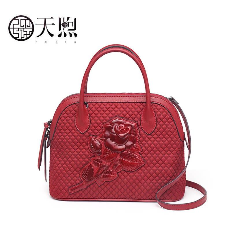 Pmsix nylon tissu gaufré sac à main femme 2019 nouvelle mode nationale vent épaule Messenger sac Designer sac femme