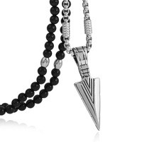 BLEUM CADE Stainless Steel Arrow Pendants Necklace with Fashion Cool Black Natural Agate Stone Chain 26