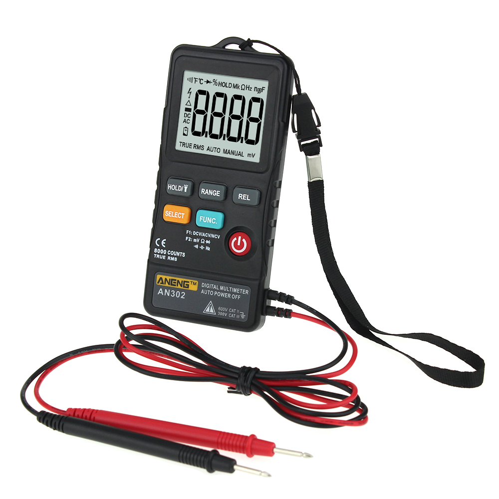 AN302 Multi-function Button Type Multimeter + Portable Strap + Measurement Data Line Logistics Multimeter Measuring Tool