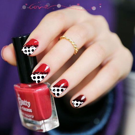 Water Transfer Nail Art Stickers Decal White Black Spots