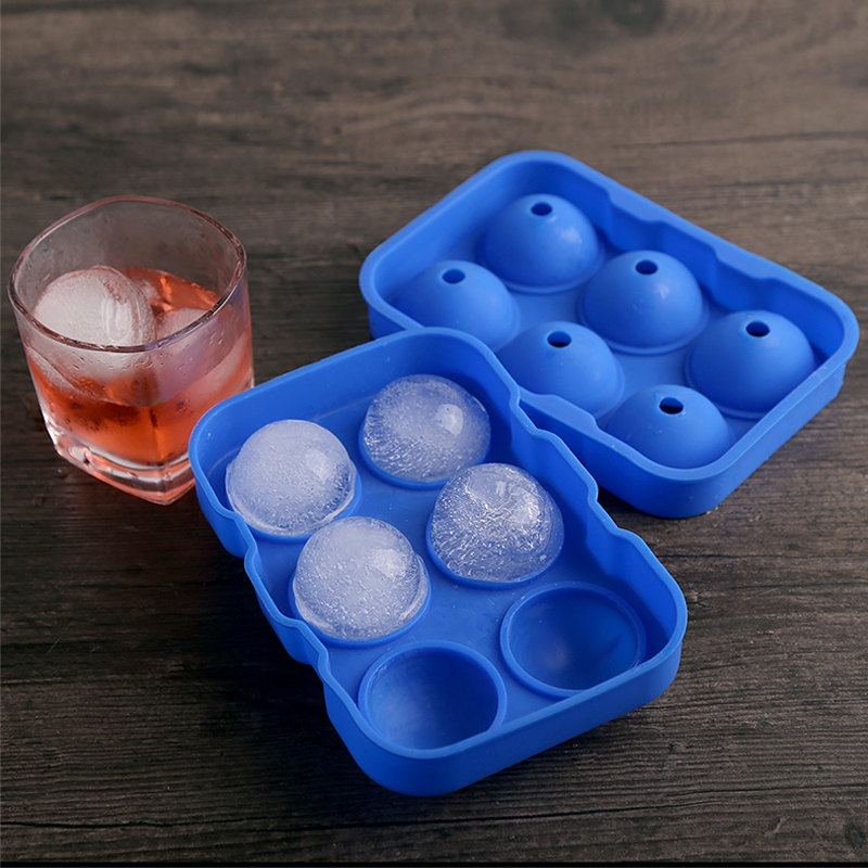 Large Round Ice Ball Maker 6 Holes Silicone Ice Cube Tray Mold Bar Party Whiskey Ice Mold Silicone Sphere shaped Ice Cube Maker (7)