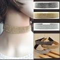 Corazones Q de Plata Joyas de Oro Lleno de Cristal Imitado Diamante Rhinestoned Mujeres Gargantillas Collar De Cuero 2017 Nueva Moda Elegancia