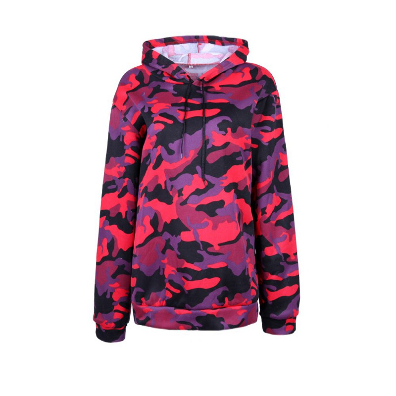 Buy Autumn  Women's Tops Camouflage Hoodie Long Sleeves Loose Sweatshirts Clothing for only 9.31 USD