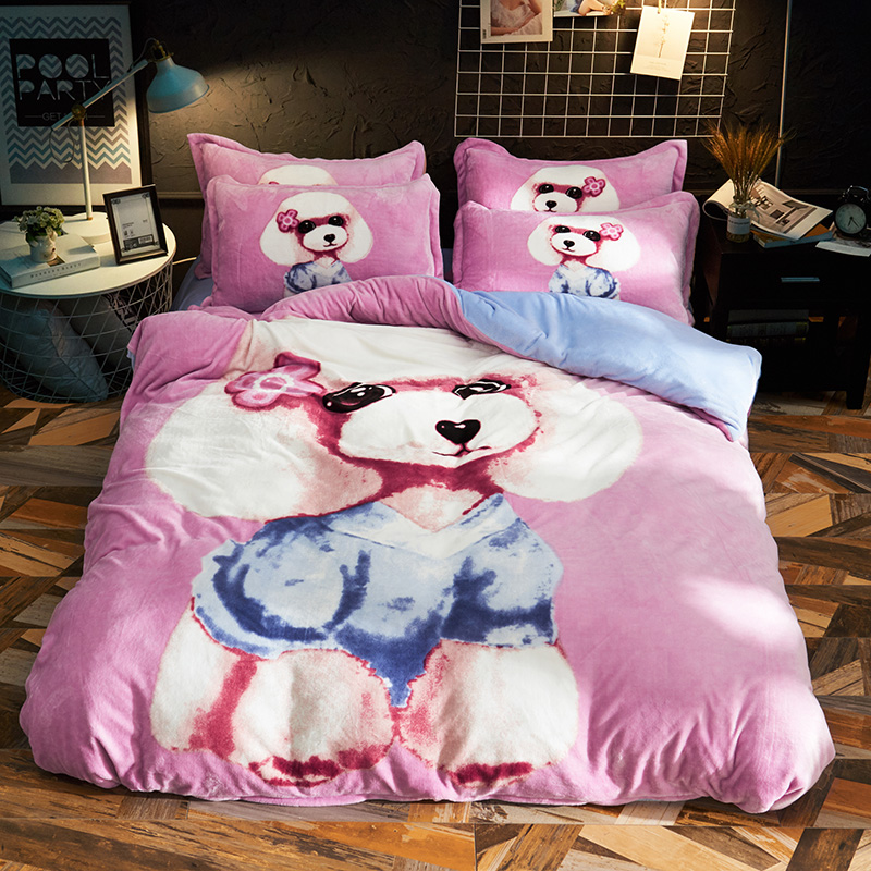 Cartoon Poodle Lion Rabbit Dog Warm Fleece Fabric Child Bedding Sets Velvet Flannel Duvet Cover Bed Sheet Bed Linen Pillowcases