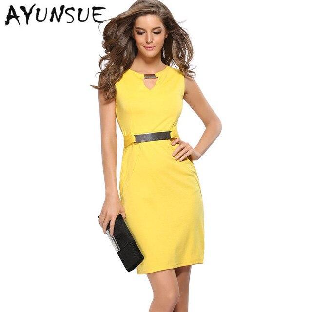 Sexy Elasticity Women Summer Dress 2018 Sleeveless Dresses Yellow