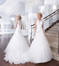 2015 Romantic Lace Wedding Dresses A Line Sweetheart Applique Ruffle Sweep Train White Bridal Gown yk1A268