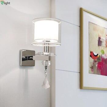 Modern Chrome Metal Led Wall Lights Lustre Crystal Bedroom Led Wall Lamp Living Room Led Wall Light Fixtures Acrylic Wall Sconce