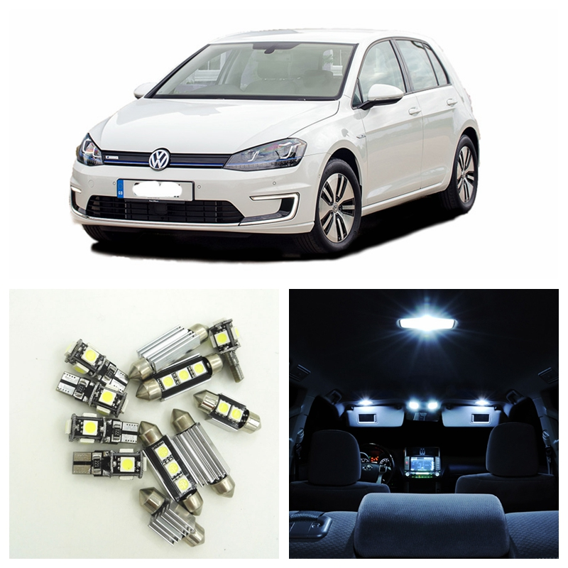 12pcs Canbus Car LED White Light Bulb Interior Package Kit For 2003 2004 2005 2006 2007 Volkswagen VW GOLF GTI MK5 No Free Lamp 1pair canbus free led car license plate light number plate lamp for opel vectra c estate 2002 2003 2004 2005 2006 2007 2008