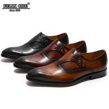 Retro Style Men Dress Loafers Shoes Genuine Leather Formal Business Office Men Shoes Male Dress Shoes Buckle Strap Slip On Flats akamatsu embossed genuine leather formal business men shoes square toe slip on men dress loafers black office men shoes
