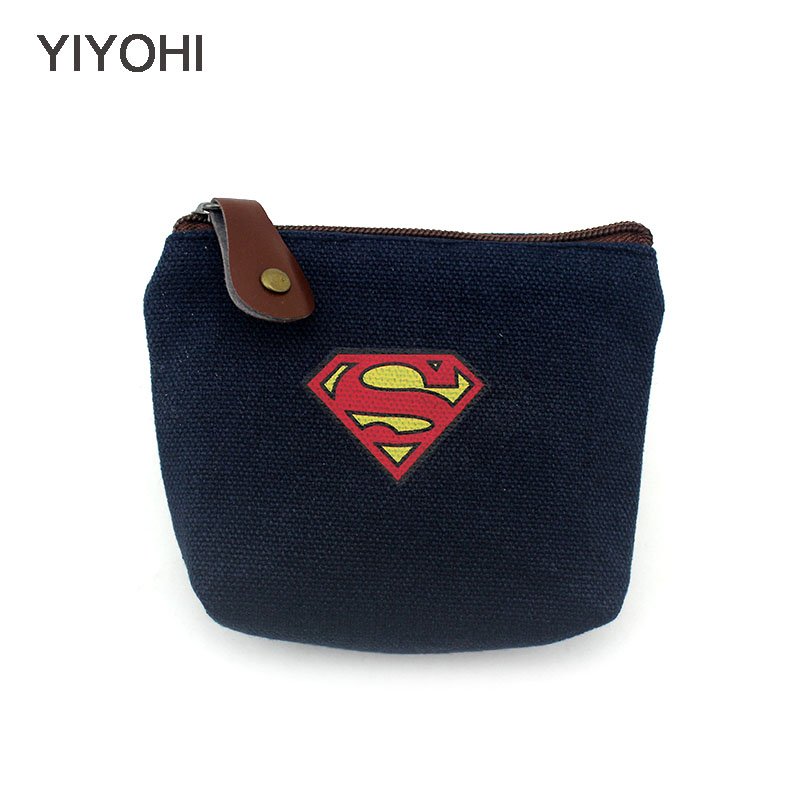 YIYOHI Unisex 3 Colors Canvas Coin Purse Wallet Fashion Superman Key Pouch Bag Creative Mini Change Purses Wallets For Gift
