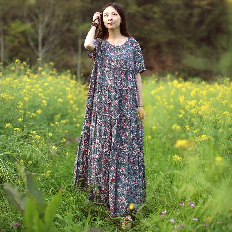 LZJN Vestido de playa de verano 2019 Vestido de camisa maxi flor - Ropa de mujer - foto 3